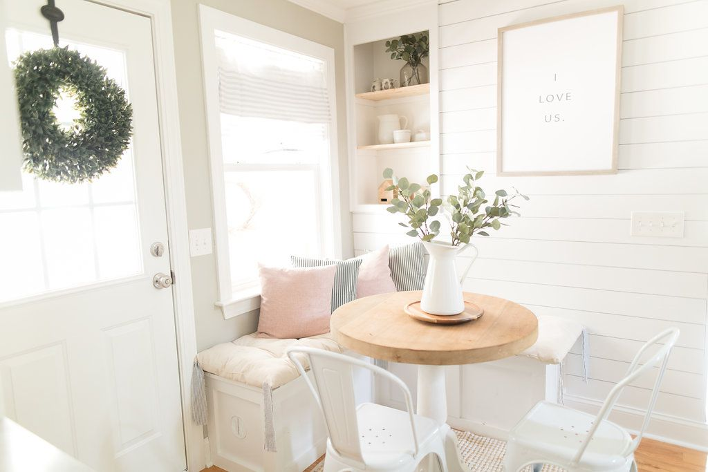 Breakfast nook with white and pink palette