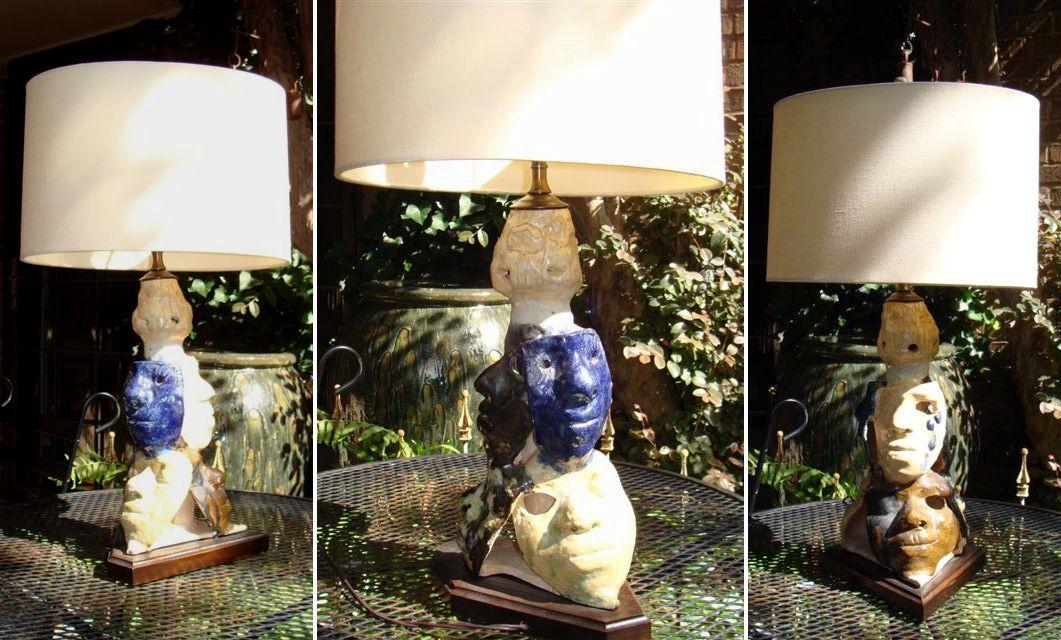 Lámpara de bricolaje hecha de una tienda de chatarra cerámica