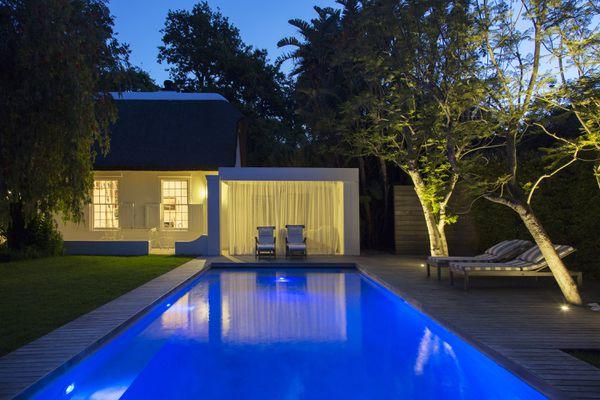 rectangular pool at night