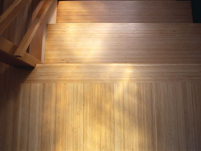Bamboo flooring on stairs.