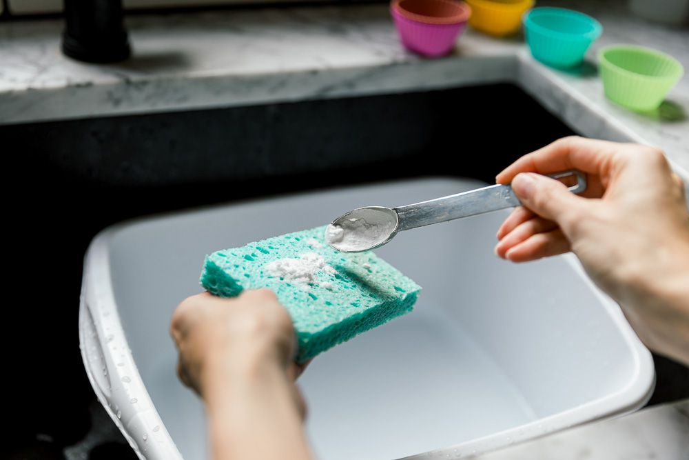 scrubbing stains off of silicone with baking soda