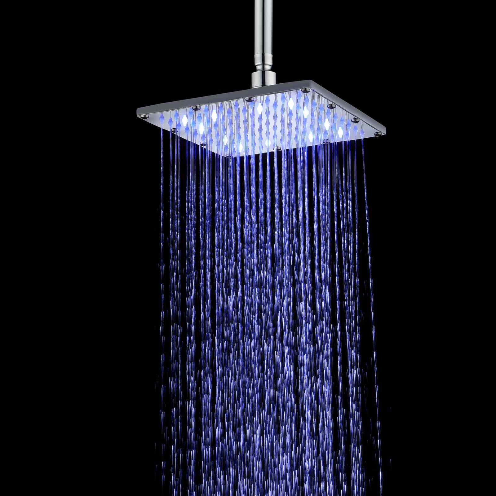 Supersonic Heuer Rain Fixed Shower Head with Temperature-Based LED Lights