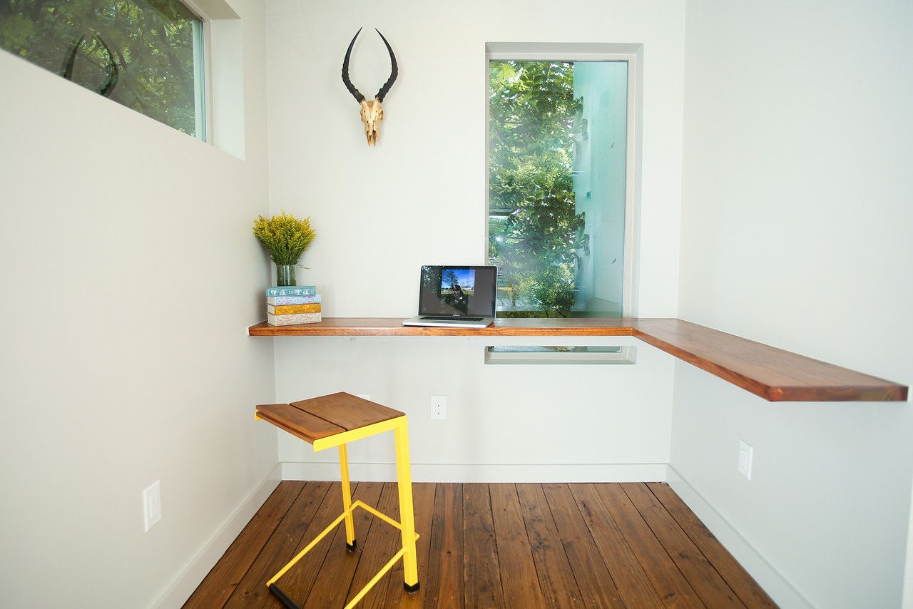 21 Desk Ideas Perfect For Small Spaces Space Saving Design Simplifies In Wall Wiring And Keeps Messy Cables