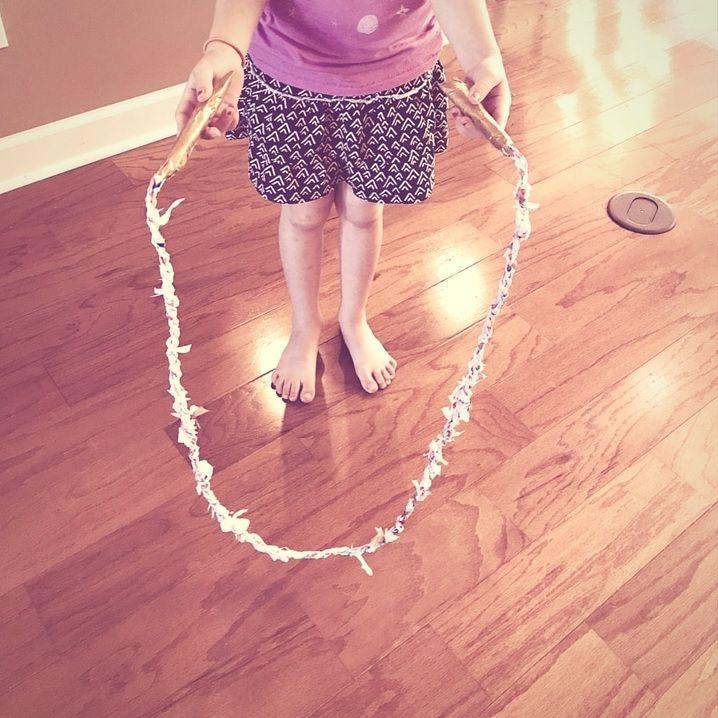 DIY plastic jump rope.