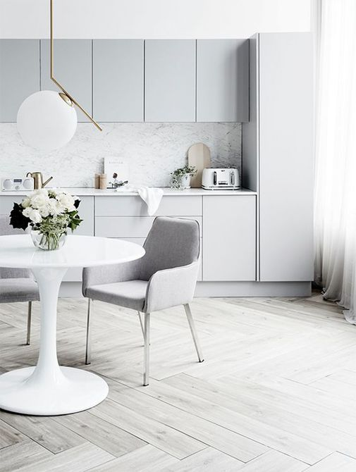 Modern light gray dining room