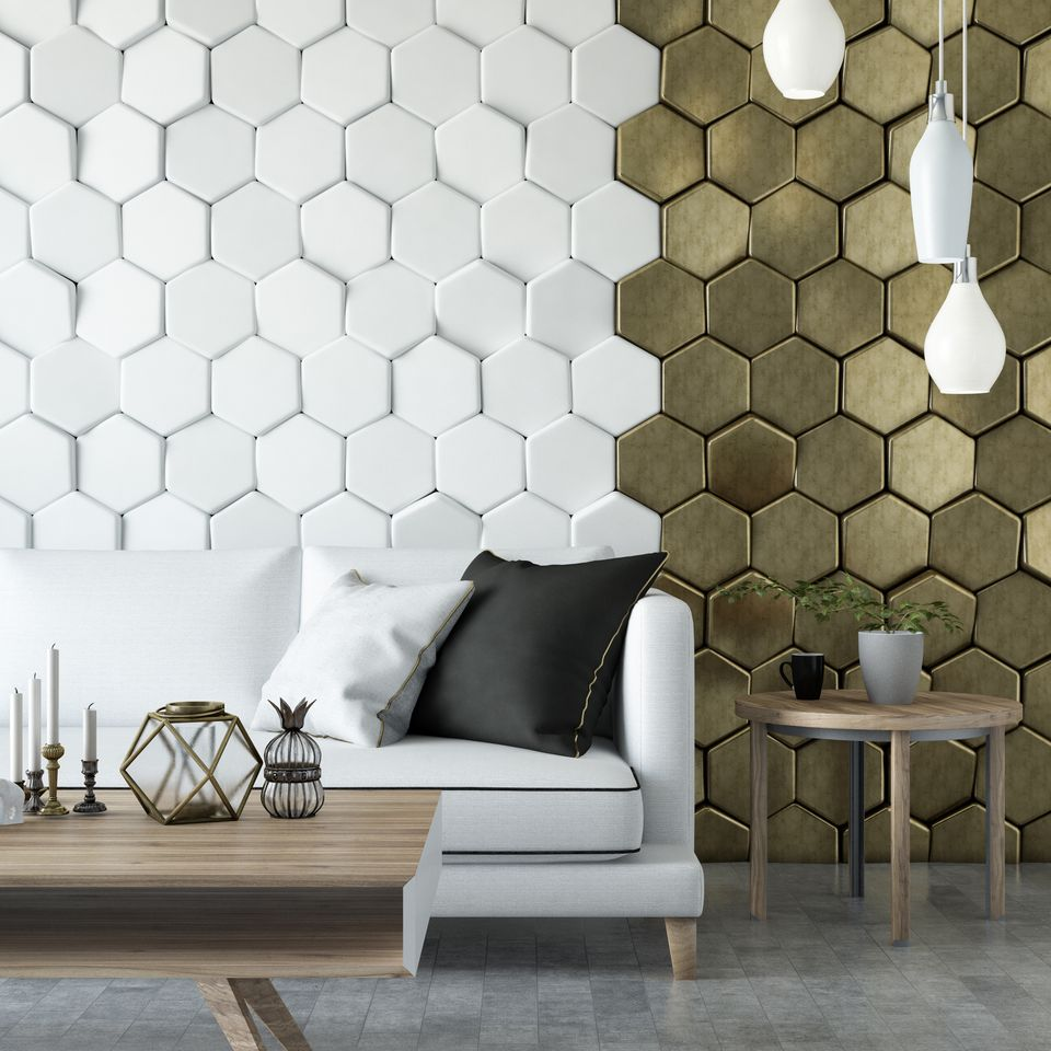 Modern Living Room with Sofa and Hexagonal Background
