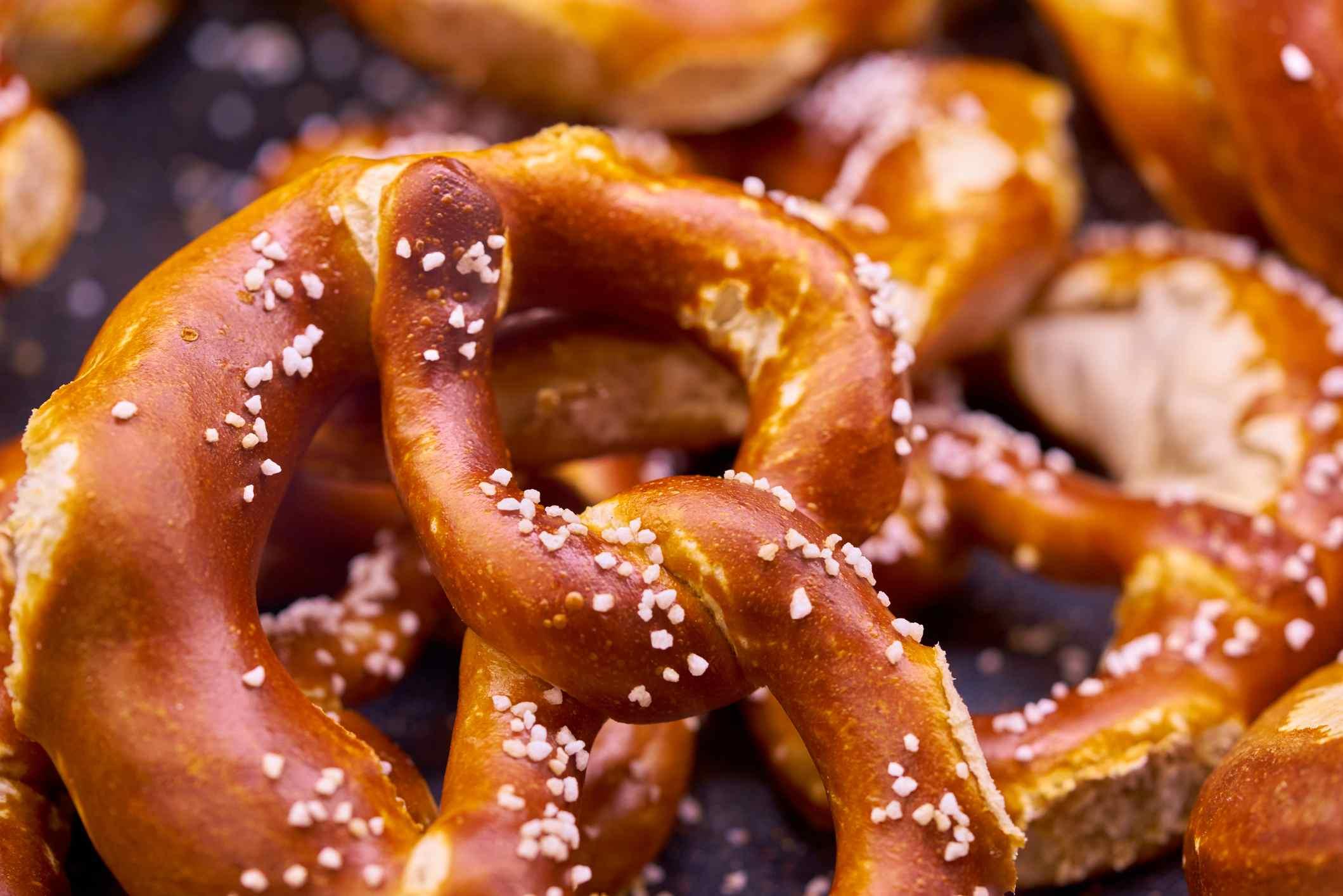 A close-up of soft pretzels.