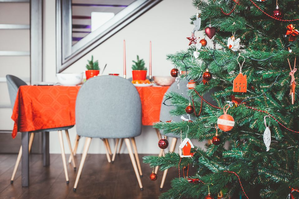 Christmas tree and decorated table