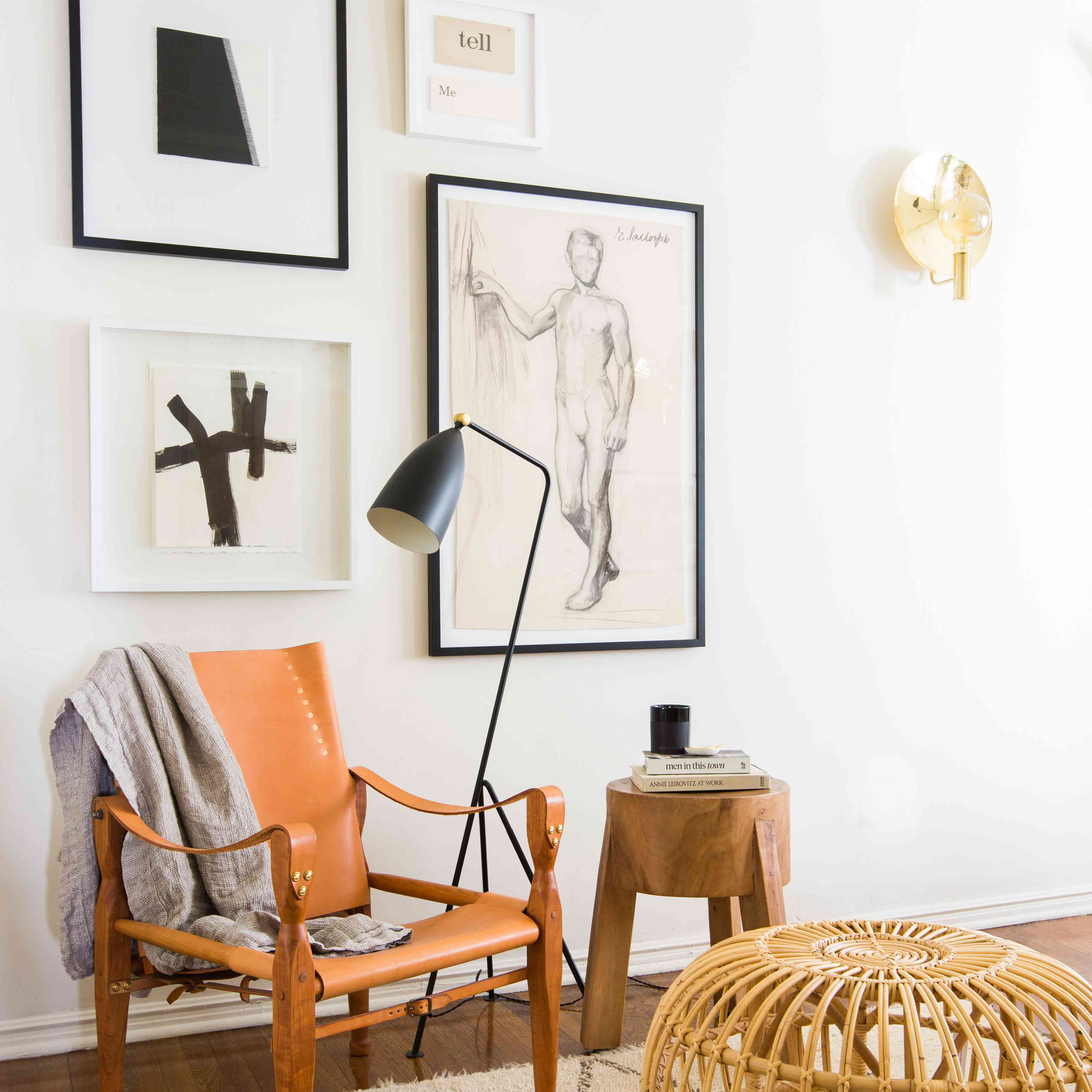 Bedroom with orange accent chair