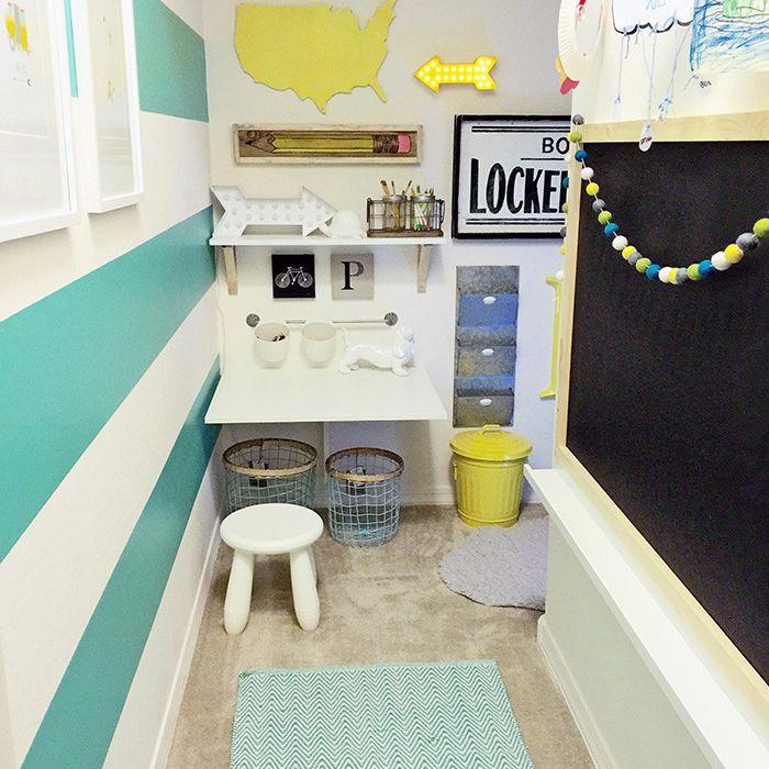 Closet homework station for kids