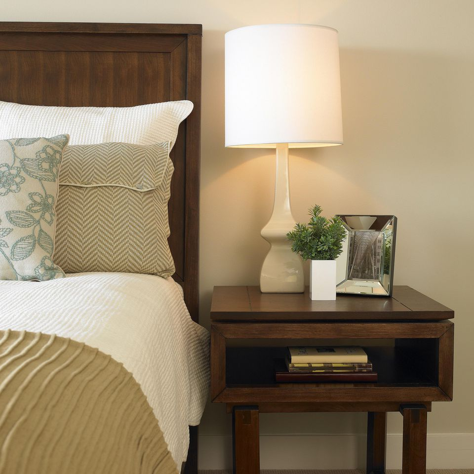 Traditional bedroom with a bedside lamp