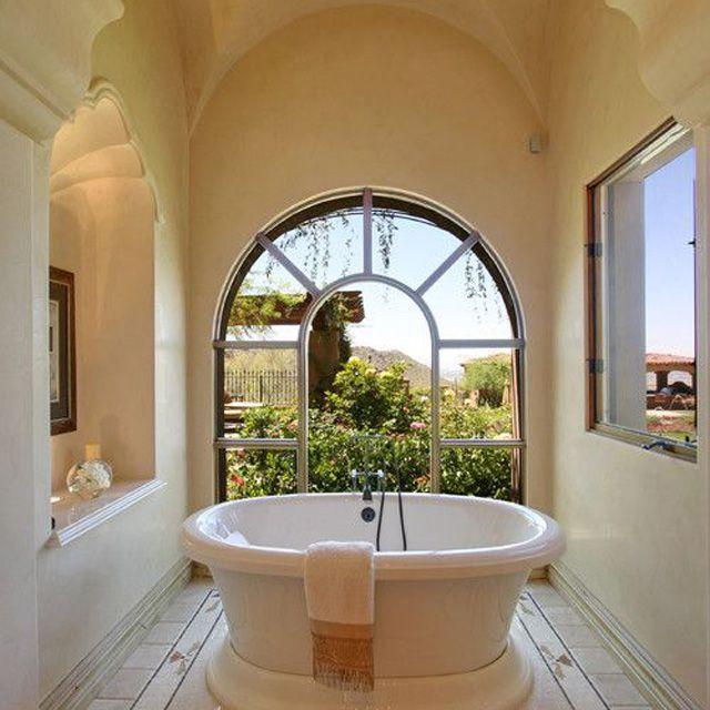 Mediterranean Dream Bathroom With Scalloped Recess