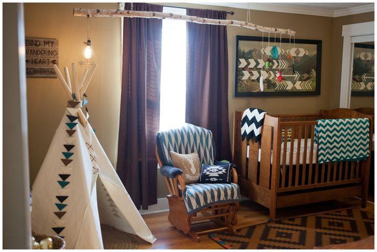 Tribal woodland-themed nursery decor