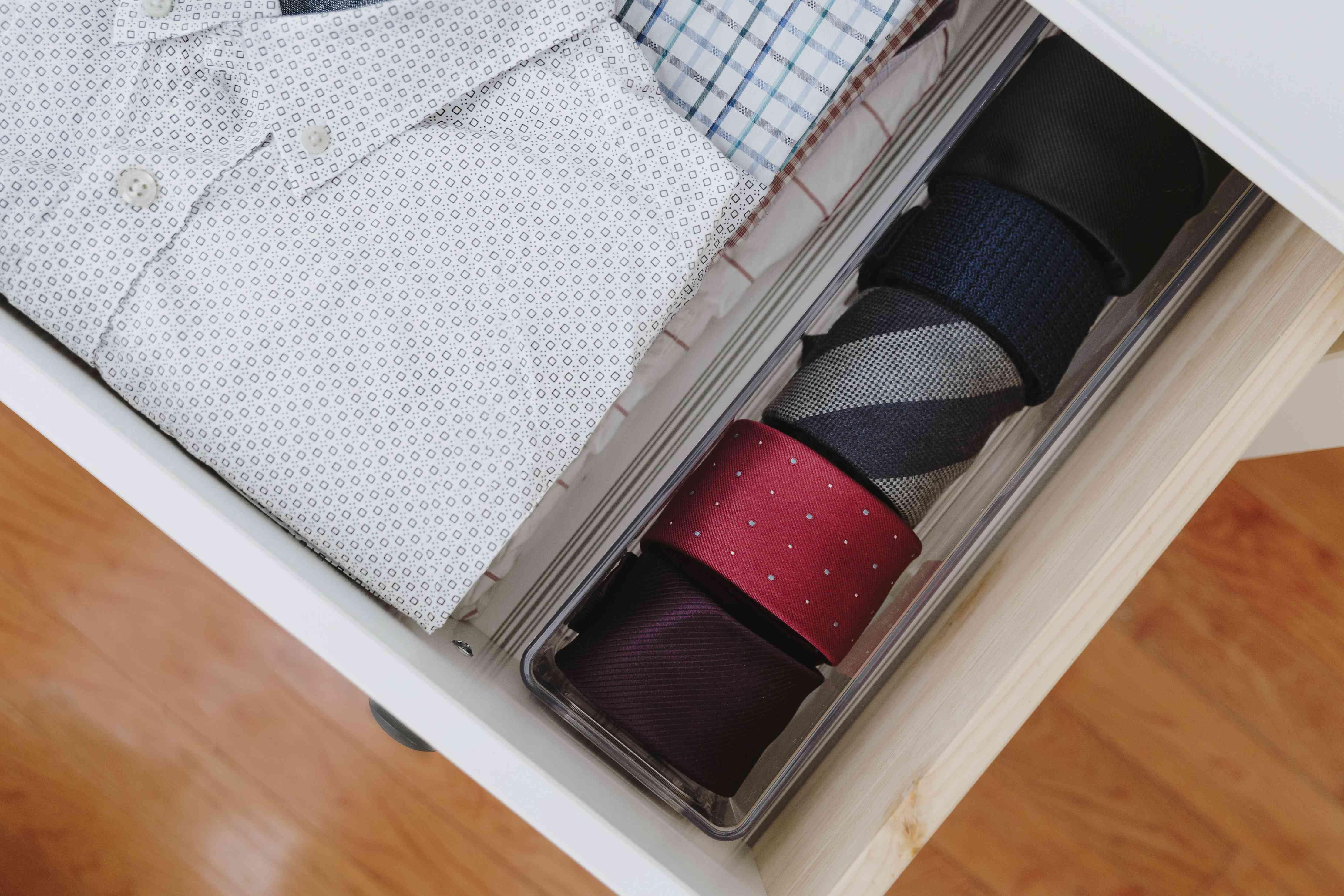 plastic organizer used to hold ties