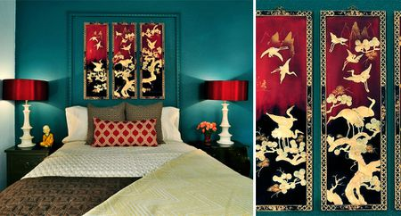 Asian Panels In Bedroom At The Upward Bound House