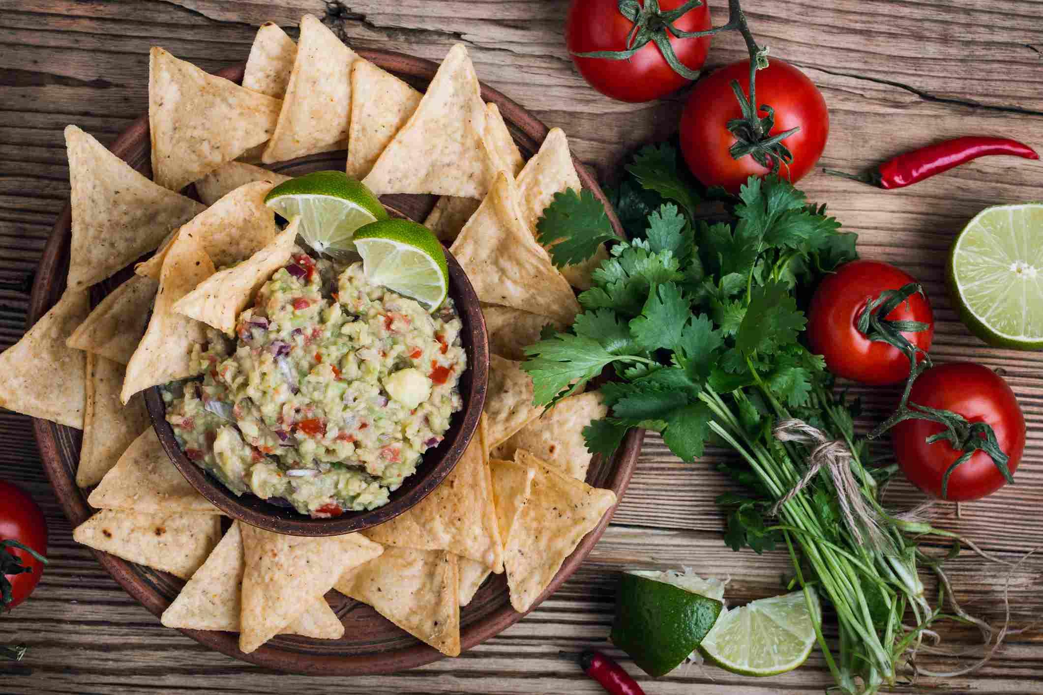 Tortilla chips and guacamole