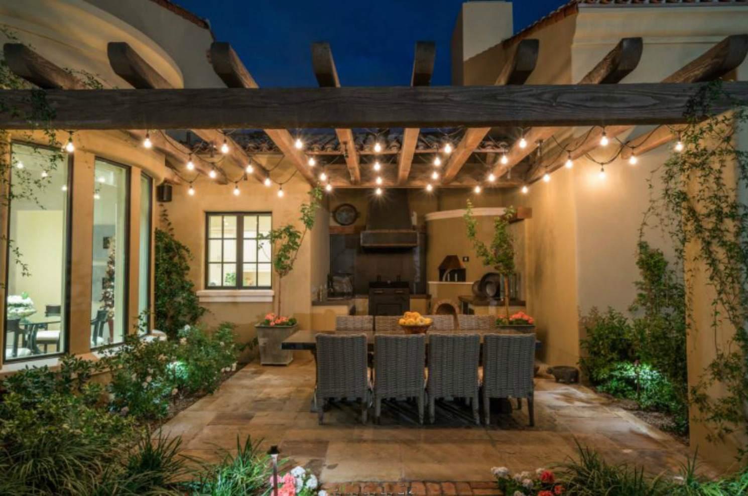 Southwestern-style pergola and patio