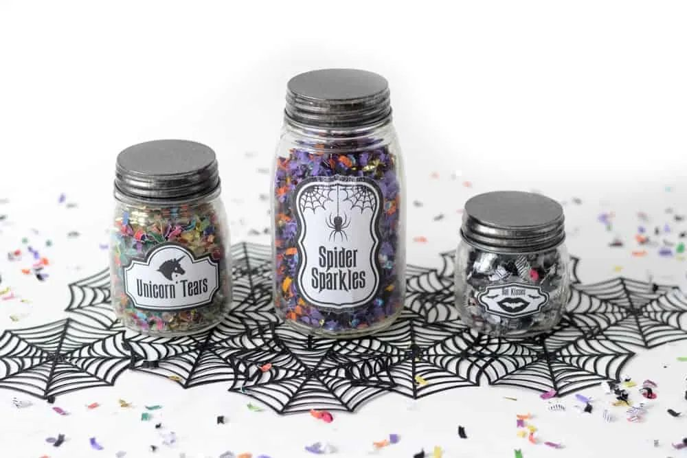 Three jars with Halloween labels
