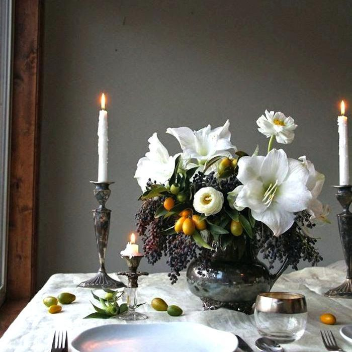 Amaryllis and Kumquat Winter Wedding Centerpiece