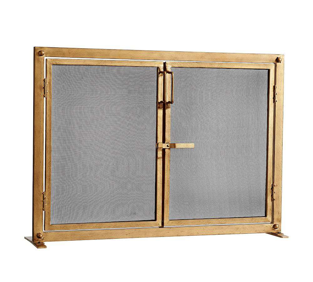"""Pottery Barn Industrial Fireplace 44"""" Screen with Doors, Brass"""