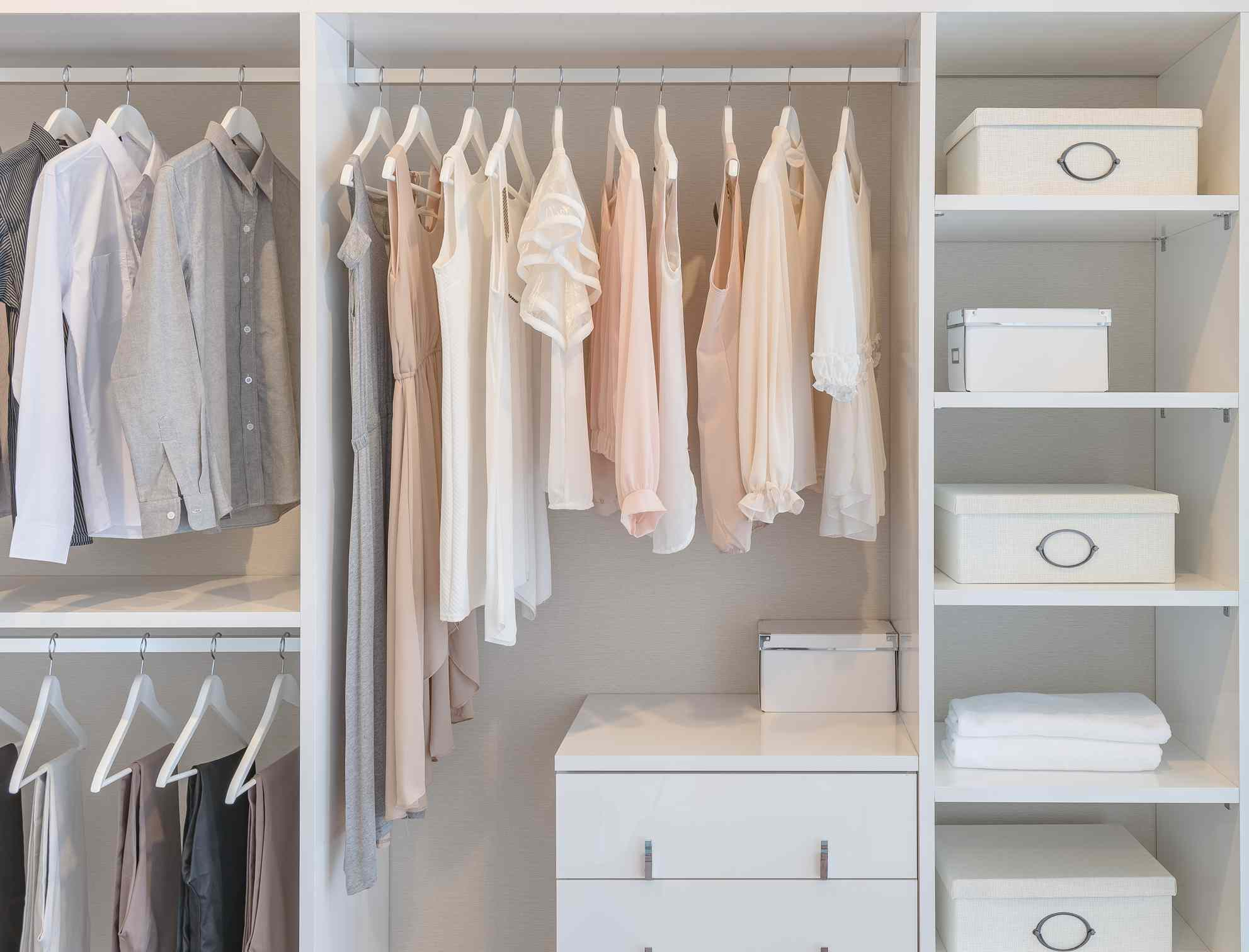 use of vertical space in a closet