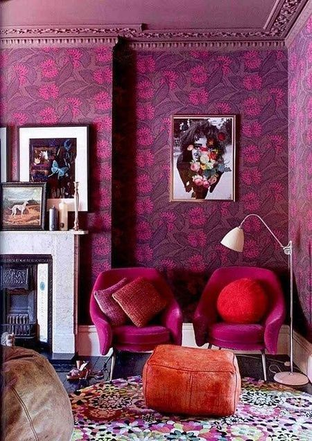 Living Room With Vibrant Purple Fl Wallpaper