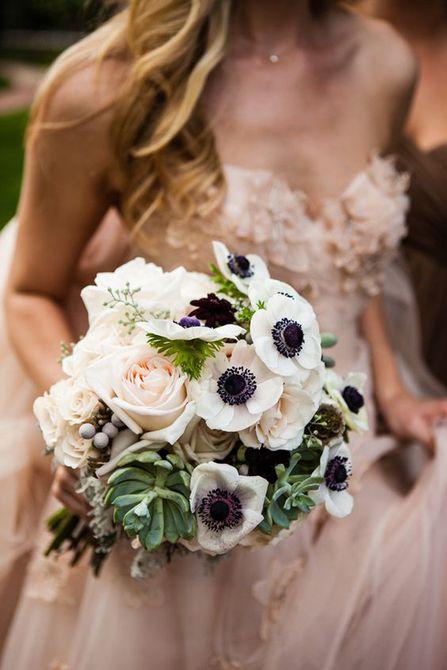 Anemone, Snowberry, and Succulent Bouquet