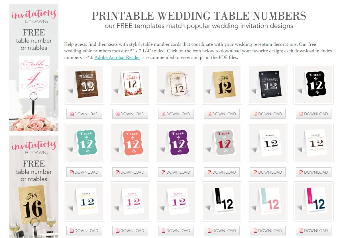 Printable Wedding Table Numbers From Invitations By Dawn