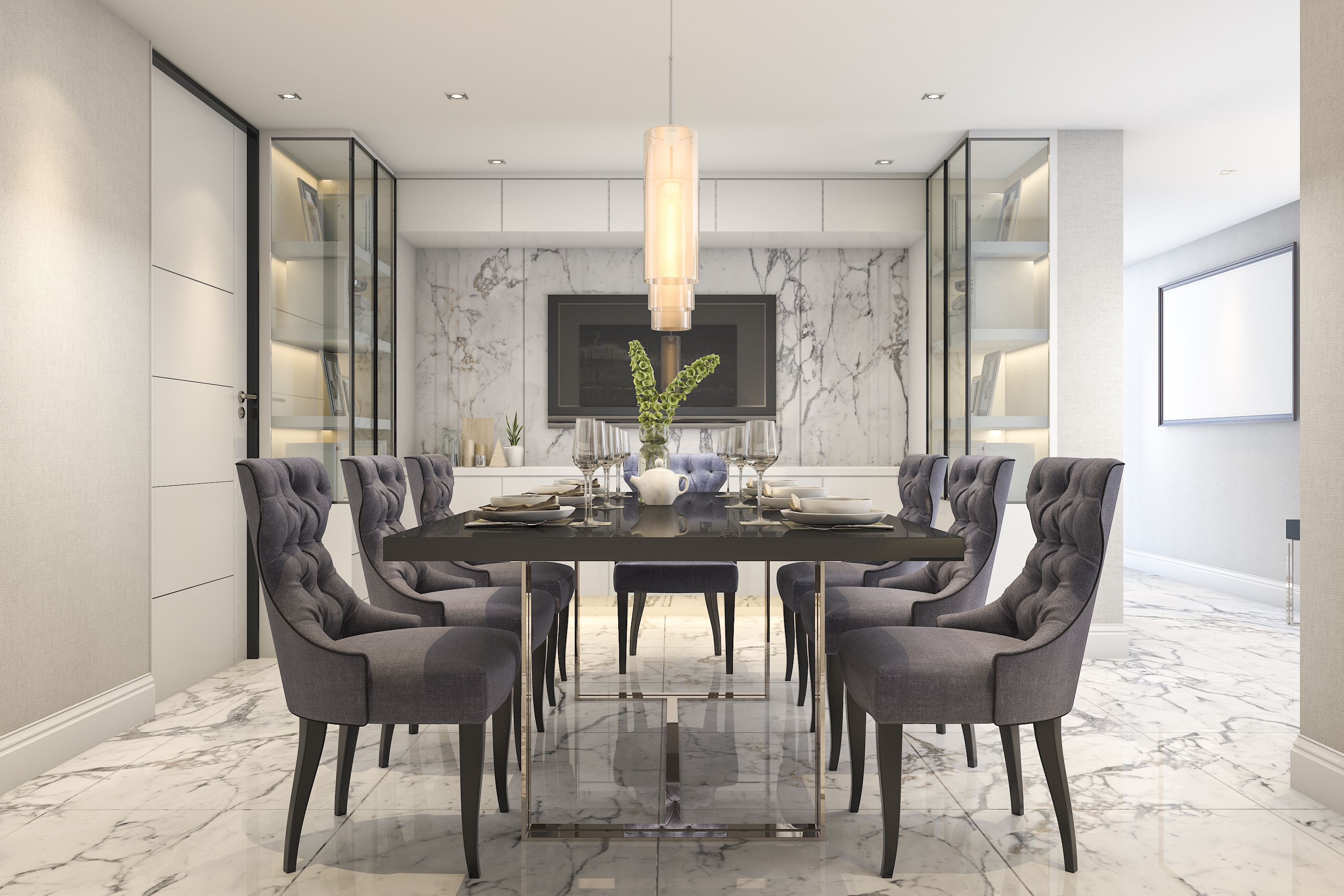 pics of dining room furniture | 25 Gray Dining Room Design Ideas