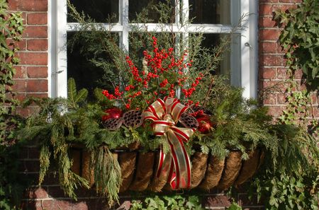 add an unusual touch to a christmas window box