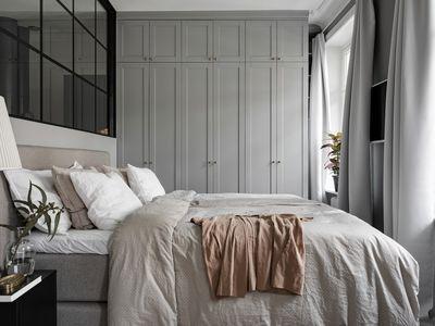 bedroom with grey and beige tones