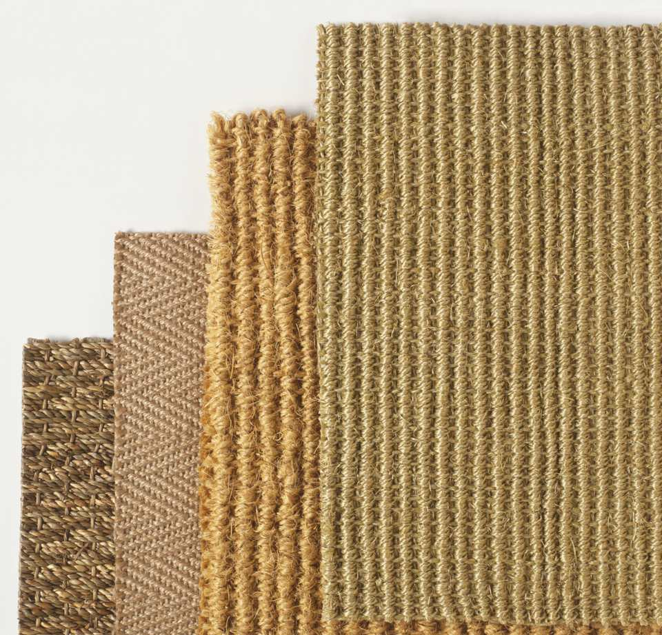 Natural fiber carpet swatches