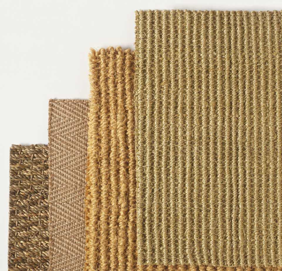 Muestras de alfombras de fibra natural