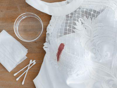 lipstick stain on a wedding dress