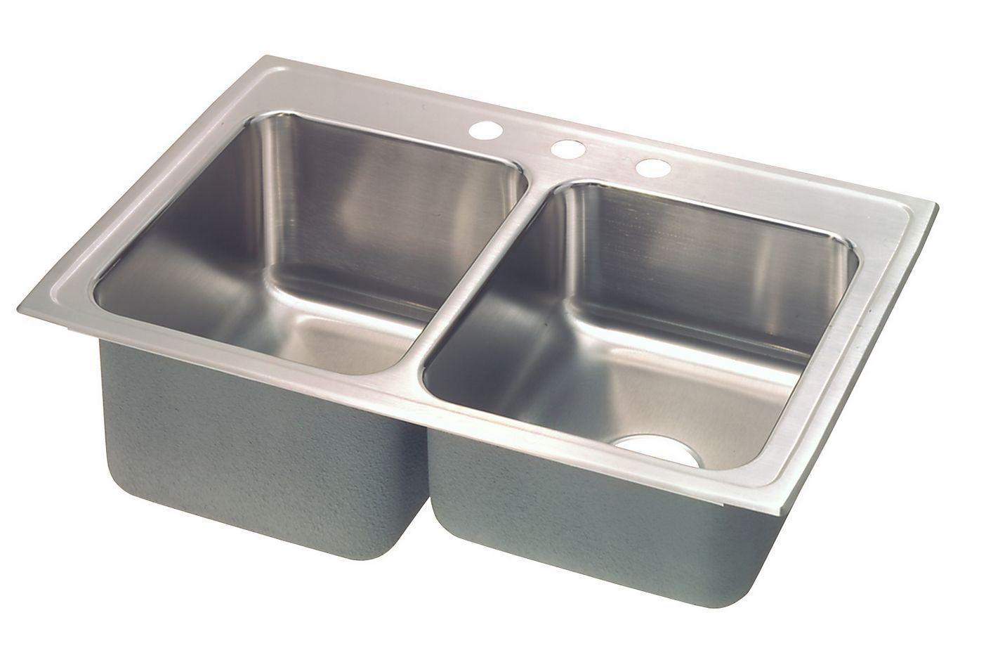 Fregadero de doble lavabo de acero inoxidable Franke contra un fondo blanco