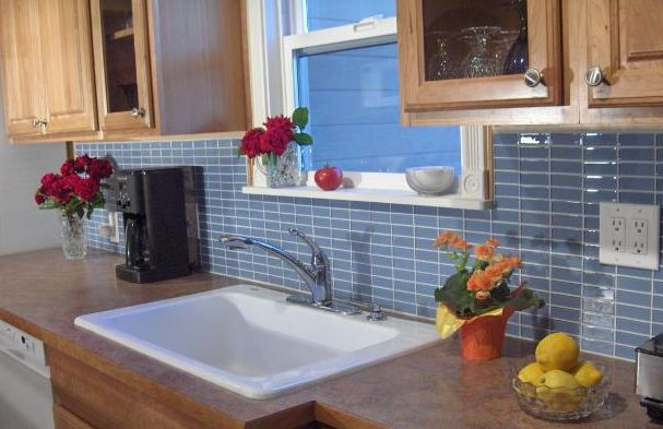 Install Blue Gl Subway Tile Backsplash