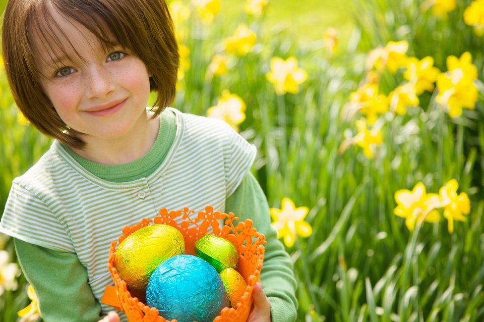 Little girl hunting for Easter eggs