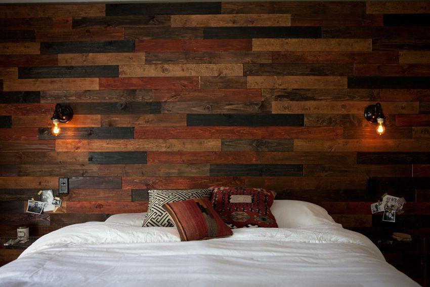 pared de tablones rústicos de imitación cálida