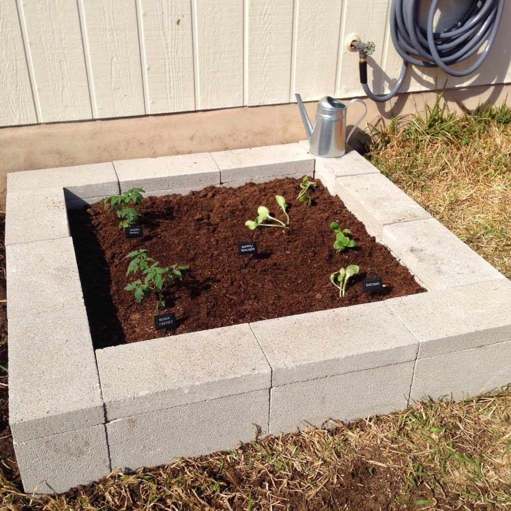 A garden bed made out of cinder blocks