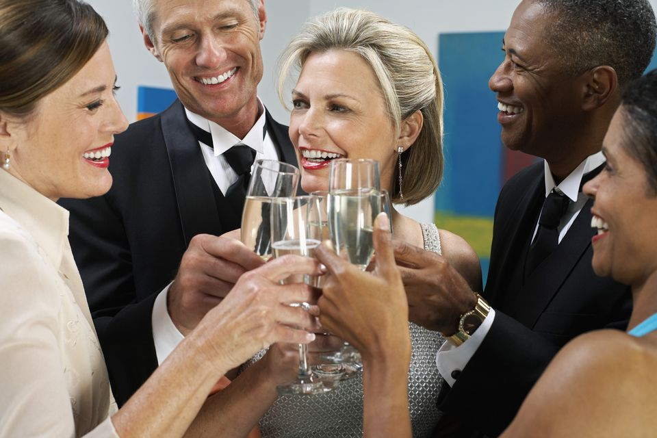People Toasting at Art Show Opening