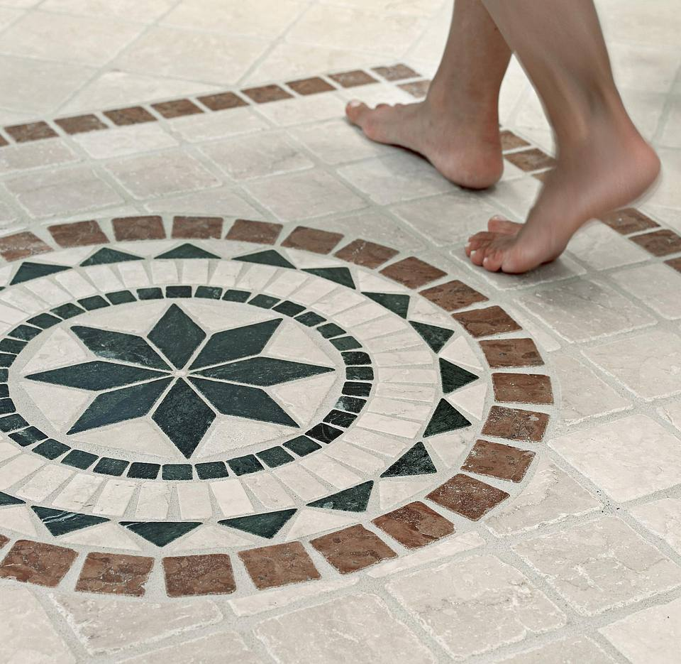 Floor tile mosaic bathroom