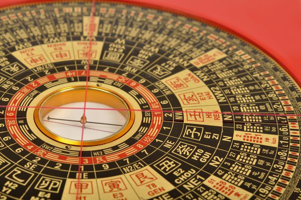 close up of the feng shui compass