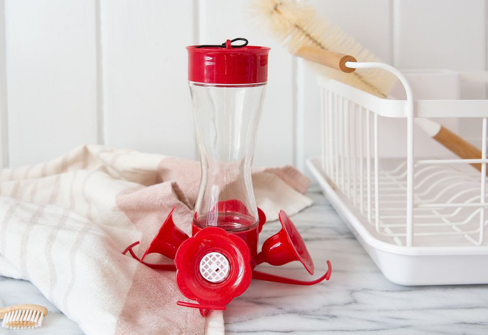 hummingbird feeder and cleaning items