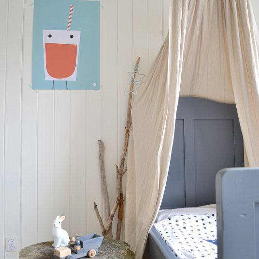Kids room with rustic DIY canopy created from a tree branch.