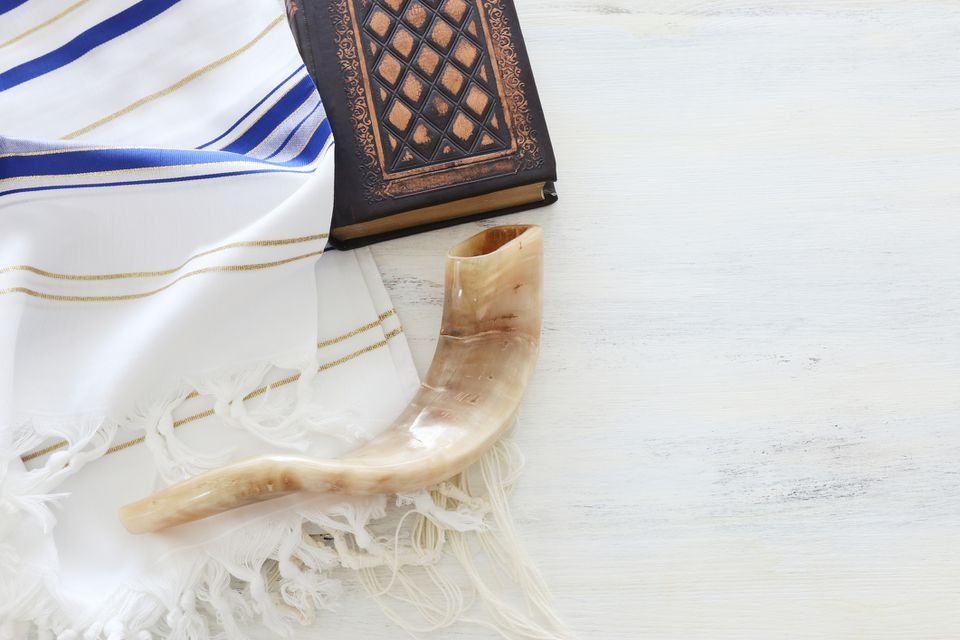 prayer shawl, tallit, and shofar