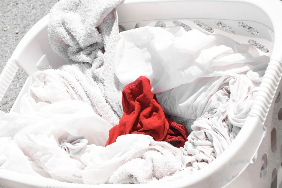 red sock in white laundry
