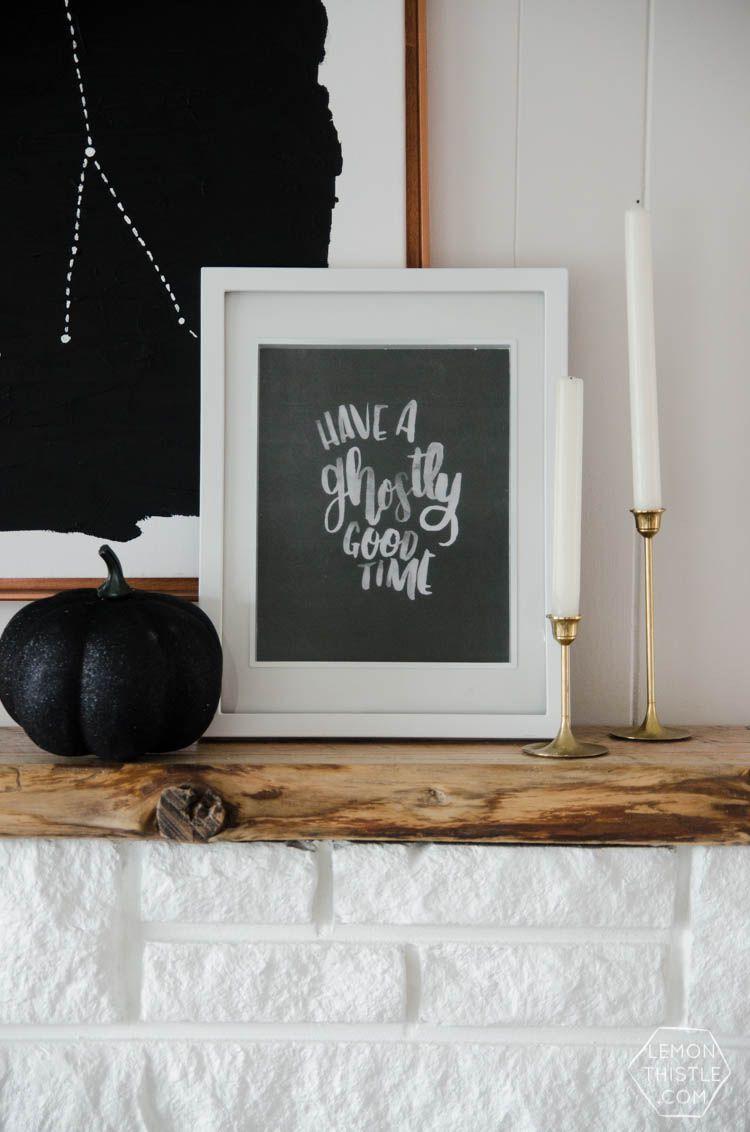 A Halloween printable on the mantel