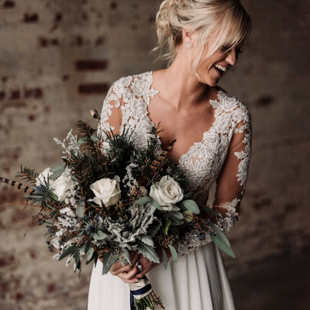 Rose, Feather, and Thistle Winter Wedding Bouquet