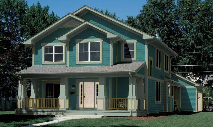 Pintura de casa verde brillante