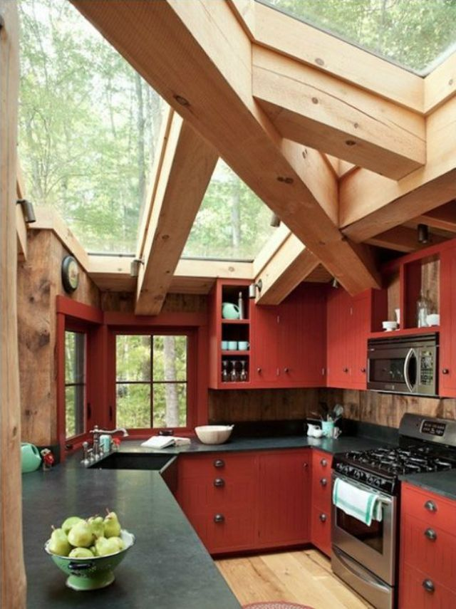Red country cabin kitchen